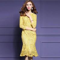 2017 New Women Spring Yellow Lace Dress Femme Elegant European American Large Size Slim Thin Packs