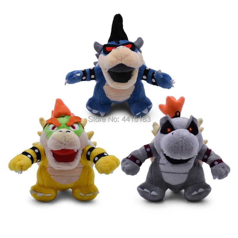 3 Styles Anime Super Mario Bros Q Ver 3D Land Bone Kuba Dragon Dark Bowser Koopa Peluche Doll Plush Soft Stuffed Toy Dry Bones