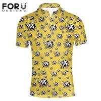 FORUDESIGNS 2017 Mode Mannen Polo Shirts Slim Fit Korte Mouw dieren Print Koe Puppy 3D Polos Mannen Zomer Ademend Polo Shirt