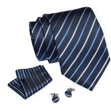 Brand New Solid Color Tie Set 8cm Black Blue strtiped  Necktie Gravata Pocket Square Paisley Silk Handkerchief Cufflinks
