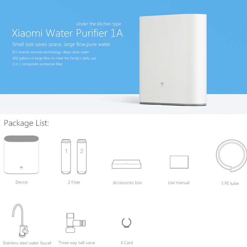US $192 45 18% OFF Original Xiaomi Mi Water Purifier 1A with Faucet Support  WiFi Connect Smart Mi Home APP RO Reverse Osmosis Filter for Household-in