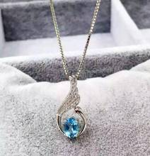 natural blue topaz pendant S925 silver Natural gemstone Pendant Necklace trendy Lucky Elegant swans women party fine jewelry
