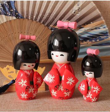 3pcs New New Cherry Blossom Cute Handmade Oriental Japanese Pink Red Kokeshi Girls Wooden Dolls 14cm 11cm 8cm