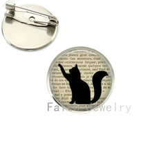 8 imágenes para elegir al por mayor Silueta De Gato broches de imagen de arte vintage, Página de Libro Negro lindo broches de gato hecho a mano NS073
