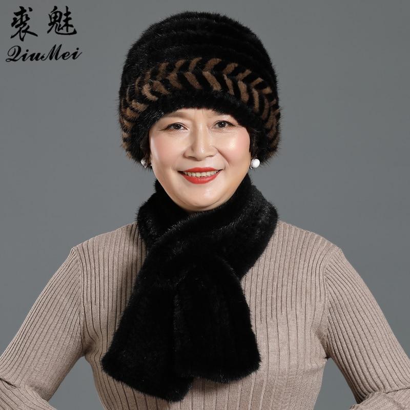 2 Pieces Hat Muffle Lady Winter Genuine Mink Fur Hats Scarves Set Knitted Women Warm Natural Mink Fur Caps Scarves Sets