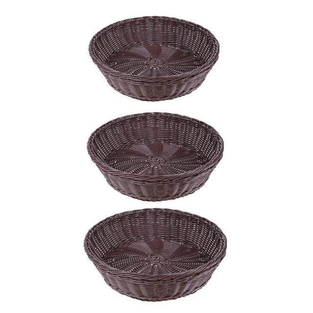 Round Woven Wicker Basket Storage Box Iron Frame Imitation Rattan Bread  Food Container Fruit Container Makeup Organizer