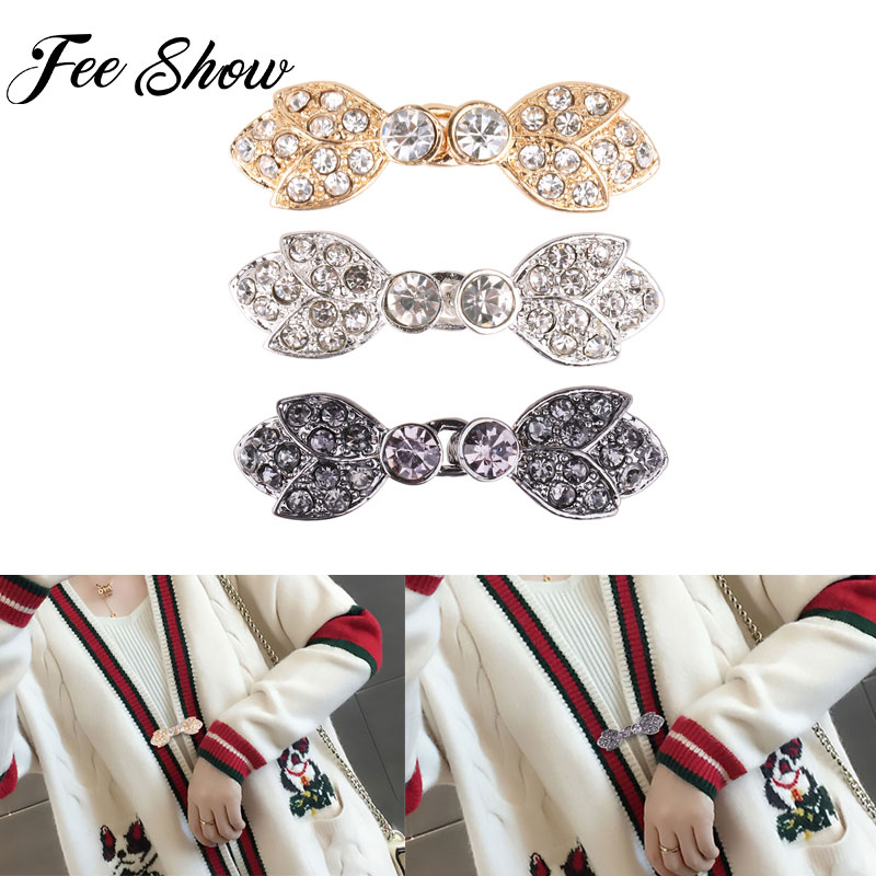Women Shiny Arrow/Leaf/Rose Shape Brooches Crystal Cape Cloak Clasps Fasteners Sew On Hooks and Eyes Cardigan Clips