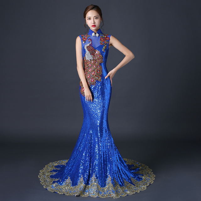 Royal Blue Evening Dress Chinese Dresses Traditional Embroidery Cheongsam Fishtail Sequin Wedding Qipao Long Robe Chinoise