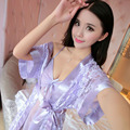 Sexy dressing gown for women Sexy lingerie  Nightgowns Straps Sleepwear Sleep shirts Sexy Silk Comfortable 2 pcs/set