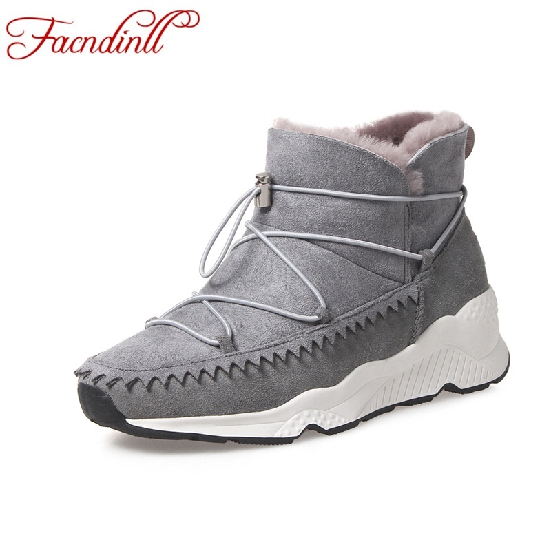 FACNDINLL women boots women winter shoes woman snow boots lace up suede leather fur ankle boots ladies warm shoes black boots suede ankle snow boots