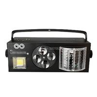 Новый DMX512 бабочки огни 4in1 световой эффект светодио дный и RG лазер & 4 глаза шаблоны свет и белый стробоскоп КТВ клуб Дискотека dj освещения