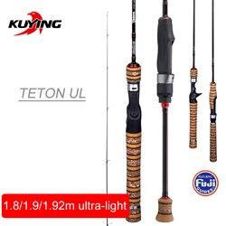KUYING Teton 1.8 m 1.9 m 1.92 m UL Ultralight Morbido di Pesca Asta Asta di Richiamo di Carbonio Casting Spinning Canna Pole FUJI parte Azione Medio di Trota
