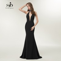 Black Evening Dress Sexy Mermaid Beaded Deep V Neck Formal Party Dress Side Slit Backless