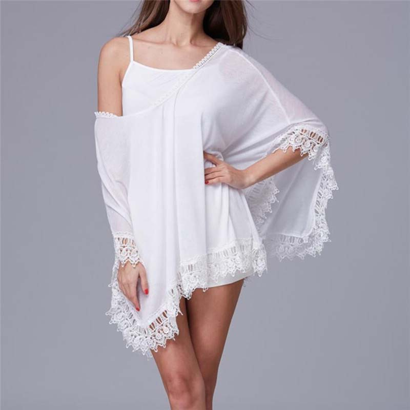 Blouses & Shirts Active Summer Women Bikini Cover Up Sarong Cardigan Dress Kaftan Lace Crochet Sheer Beach Wear Long Blouse Casual Loose Long Sleeve