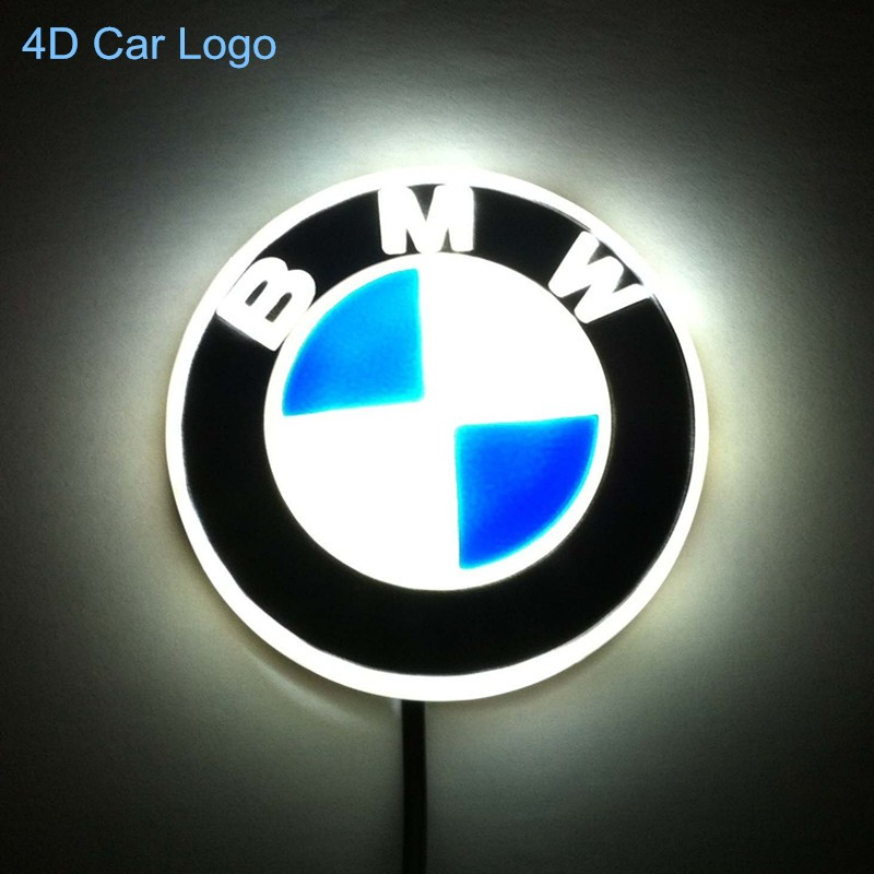 Free Shipping New High Quality 4D Red Blue White LED Car styling Logo For BMW 1 3 4 5 6 7 Series M3 X5 Emblem Badge Logo Lamp 1 set 4d car decoration logo lights led auto badge emblem lamp led waterproof blue red white for mercedesbenz
