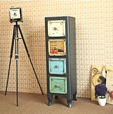 Industrial wind LOFT American country to do the old retro four bucket cabinet drawer cabinet lockers child decorative cabinet sh