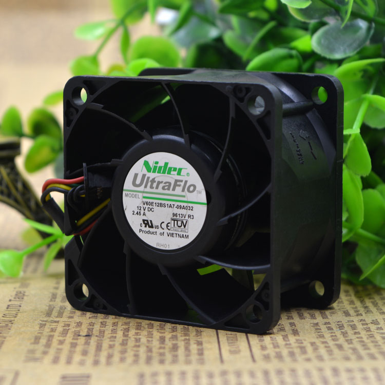 Original Nidec V60E12BS1A7-09A032 12V 2.45A 6CM server Cooling fan cooling fan free delivery original afb1212she 12v 1 60a 12cm 12038 3 wire cooling fan r00