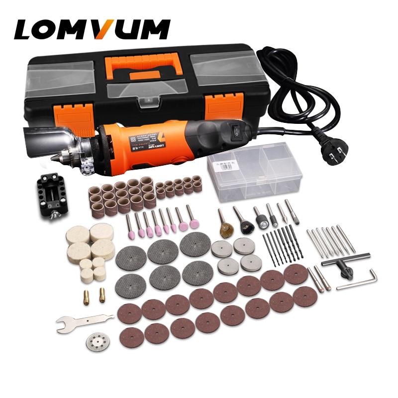 LOMVUM Electric Grinder Dremel Style Mini Drill Rotary Tools Set 350W DIY Grinder 400W 6 Speed Abrasive Tool Engraver Kit Shaft