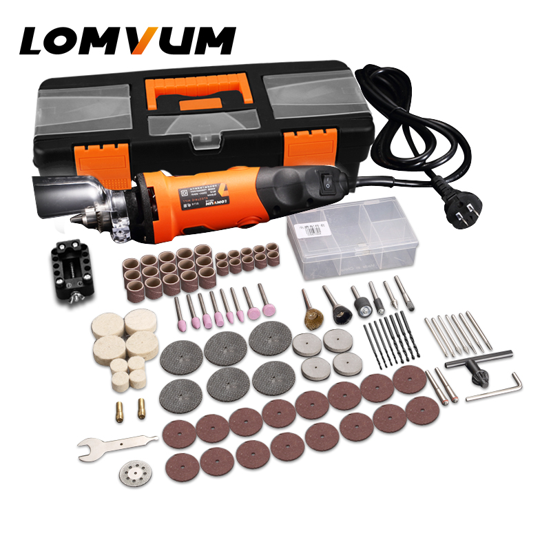 LOMVUM Electric Grinder Rotary Tools Set 350W DIY Mini Grinder 400W 6 Speed Abrasive Tool Grinding