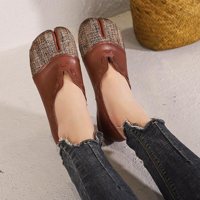 Conception à l'ancienne femmes chaussures plates en cuir naturel femme couture chaussures doux dame printemps appartements chaussures