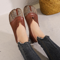 Old Fashioned Design Women Flat Shoes Natural Leather Female Stitching Shoes Soft Lady Spring Flats Footwear