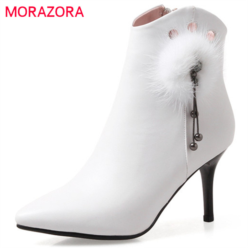 MORAZORA Top quality cow leather boots in spring autumn high heels shoes woman ankle boots sexy lady party boots zip solid morazora fashion shoes woman ankle boots for women cow suede med heels shoes in spring autumn boots platform big size 34 44