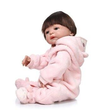 55cm  100-reborn-babies full silicone girl body doll reborn toys for girlscreative gift boneca reborn realista