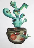 Китайский художник Zou Liangping's Work кактус Акварельная живопись экспрессиоизм ручная роспись садовое украшение плакат настенное искусство
