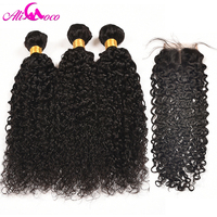Ali Coco Brazilian Kinky Curly Weave 3 Bundles With Closure Middle Part Human Hair Bundles Lace