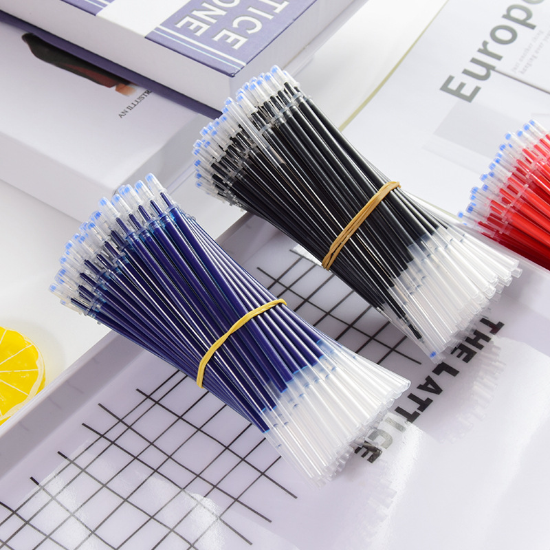 100pcs/set 0.5mm <font><b>Gel</b></font> <font><b>Pen</b></font> <font><b>Refill</b></font> <font><b>Needle</b></font> Tip Signature Rod Black Blue Red Ink <font><b>Refill</b></font> Replacement Value for Office School Writing image