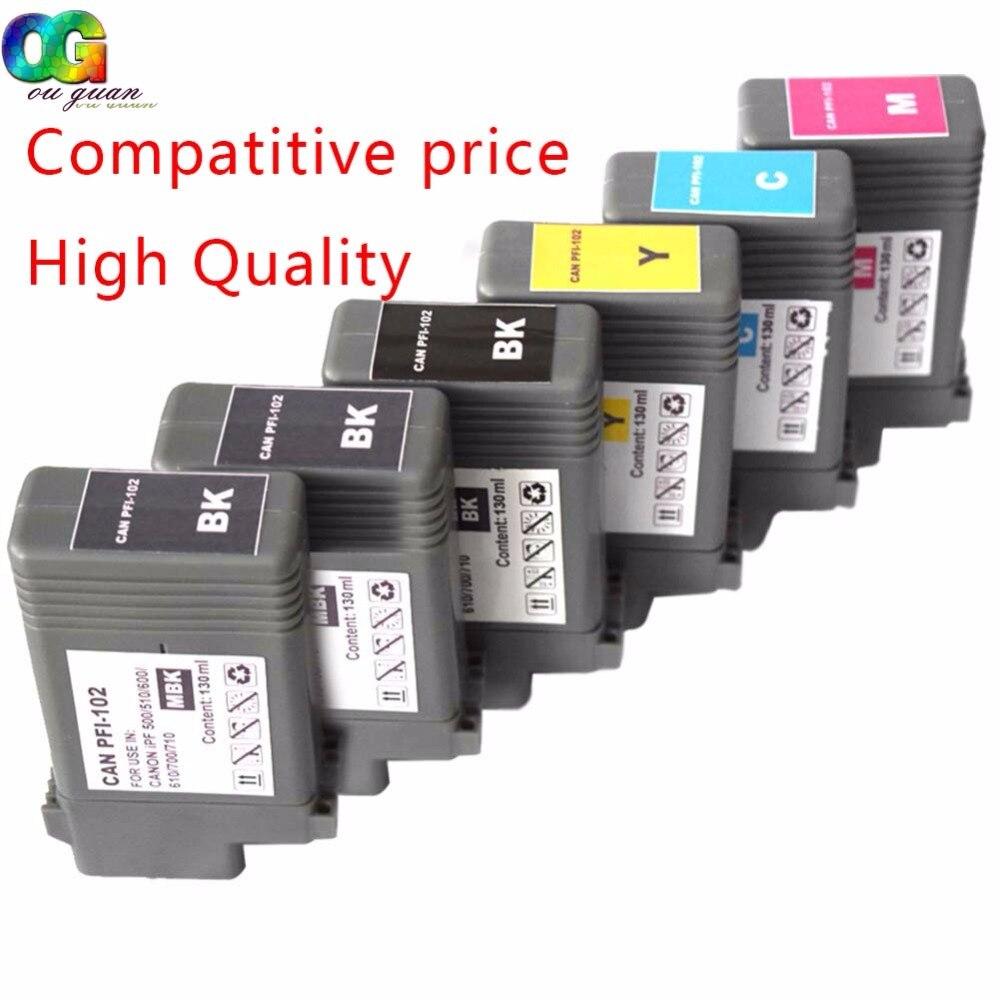 6PK Compatible PFI 102 ink cartridge IPF 510 iPF610 iPF605 iPF710 iPF720 iPF500 iPF700 iPF600 iPF655 iPF650 iPF755 iPF750 inks
