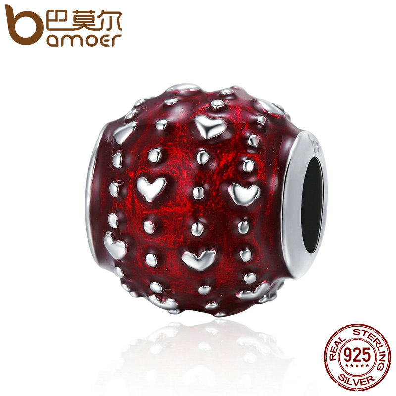 BAMOER Romantic New 925 Sterling Silver Passionate Love Heart Pave Red Enamel Beads fit Women Charm Bracelet DIY Jewelry SCC343 bamoer romantic new 925 sterling silver i love you forever engrave spacer beads fit charm bracelet