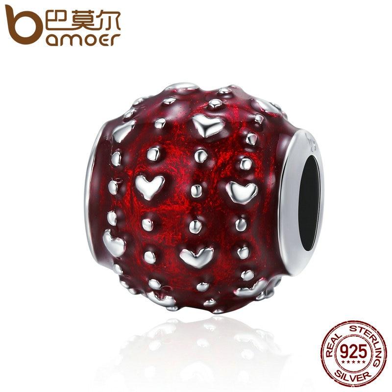 BAMOER romántico nuevo 925 de plata esterlina amor apasionado corazón pavimenta esmalte rojo cuentas mujeres encanto pulsera de la joyería de DIY SCC343