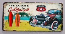 1 pc Route 66 surfing beach old cars plaques Tin Plate Sign wall man cave Decoration Poster metal vintage retro shabby decor