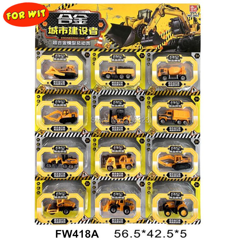 12PCS/set New Mini Urban Series Alloy Vehicle Model Toys, Engineering/Sanitation Car/Police/Fire Fighting Rescue/Military/Racing