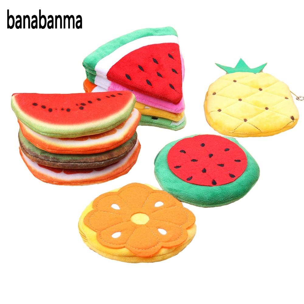 banabanma Womens Cute Cartoon Fruit Hand-take Watermelon Apple Wallet Mini Plush Coin Purse Small Coin Purse Zipper ZK30