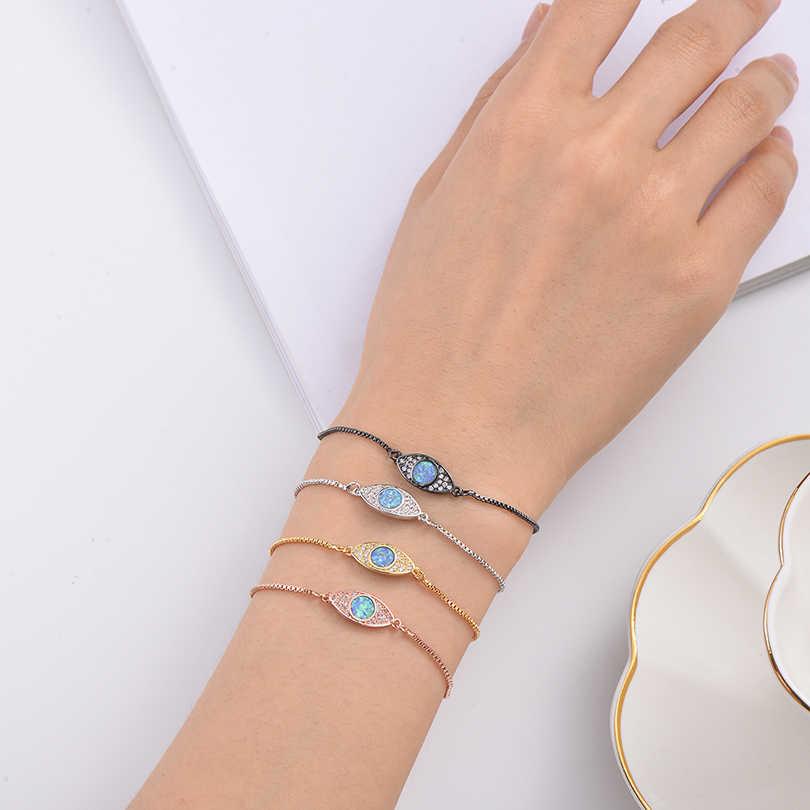Pipitree 2019 חדש אופנה כחול אש אופל צמיד מעוקב Zirconia עין רעה צמידי נשים גברים מחוון שרשרת תכשיטי מתנה