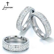 Letdifery anéis de casamento femininos, 1 peça, duas linhas, cristal transparente, noivado, moda, joia