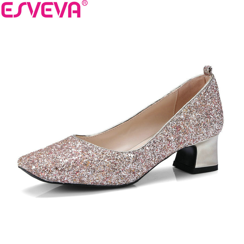 ESVEVA 2018 Women Pumps Slip on Square Med Heels Square Toe Sequins PU Fashion and Simple Style Bling Ladies Shoes Size 34-43 2017 shoes women med heels tassel slip on women pumps solid round toe high quality loafers preppy style lady casual shoes 17