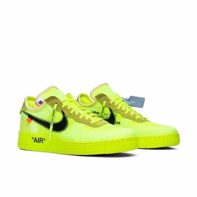 US $283.0 |Nike Air Force 1 OFF WHITE OW Men's Skateboarding Shoes Fluorescence Green Comfortable Breathable Sneakers # AO4606 700 in Skateboarding