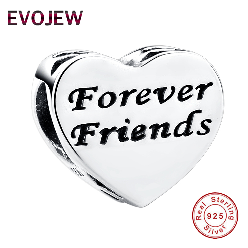 Fashion 925 Sterling Silver FOREVER FRIENDS Beads Crystal Charms fit Pandora Bracelets & Bangles Friendship Gift