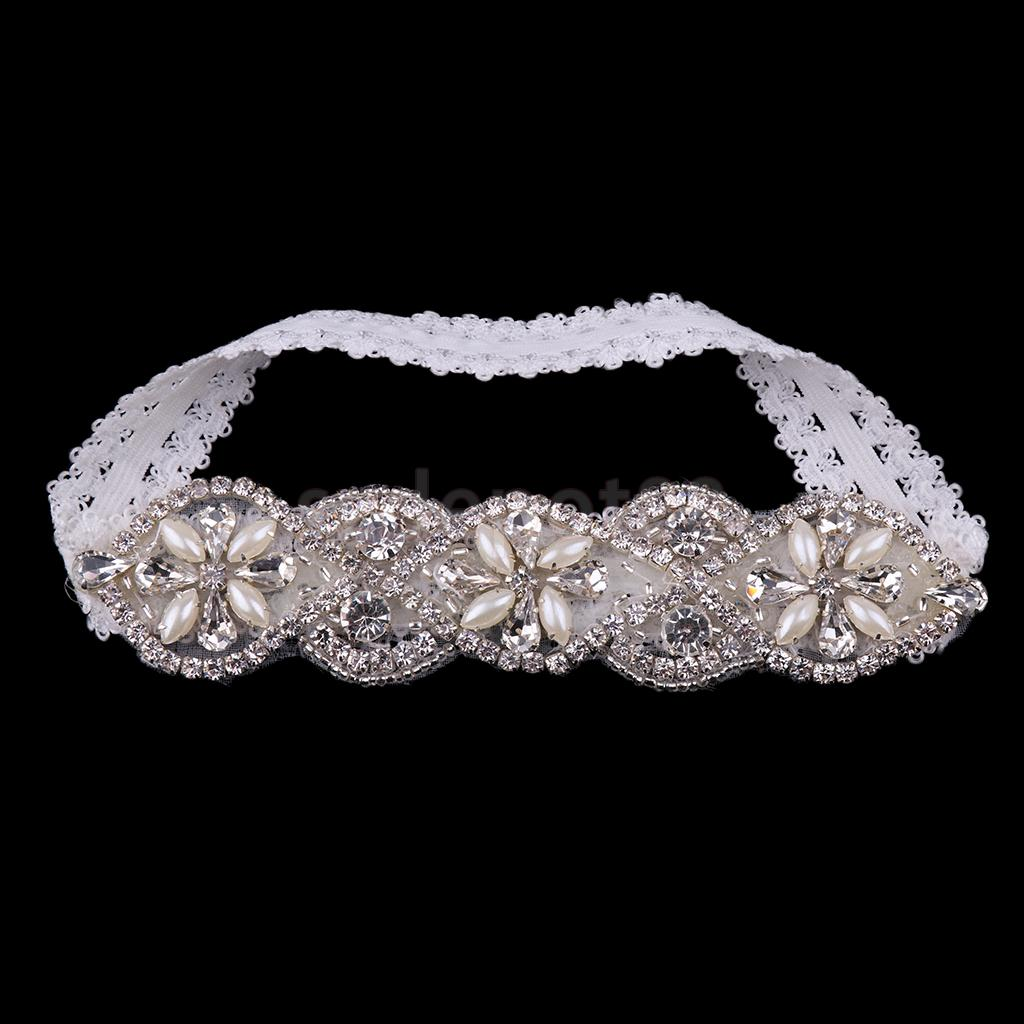 Wedding Garter Lace Rhinestone Beads Pearls Flower Applique Bridal Stretchy Keepsake Toss Garter White