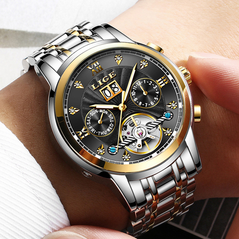 LIGE Mens Watches Top Brand Luxury Automatic Mechanical Watch Men Full Steel Business Waterproof Sport Watches Relogio Masculino Islamabad