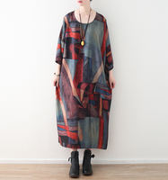2018 Female New Spring And Summer Original Loose Large Yards Art Retro Chiffon Painted Print Batwing