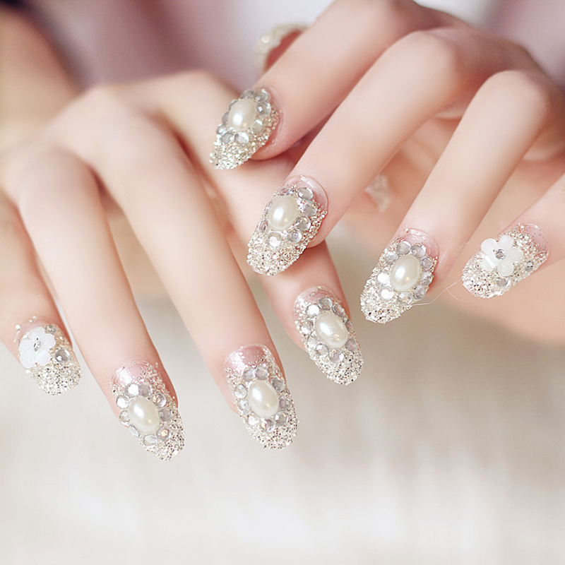 new bride 24 pcs set rhinestone false nail tips sticker press on fake nail manicure flash chip. Black Bedroom Furniture Sets. Home Design Ideas