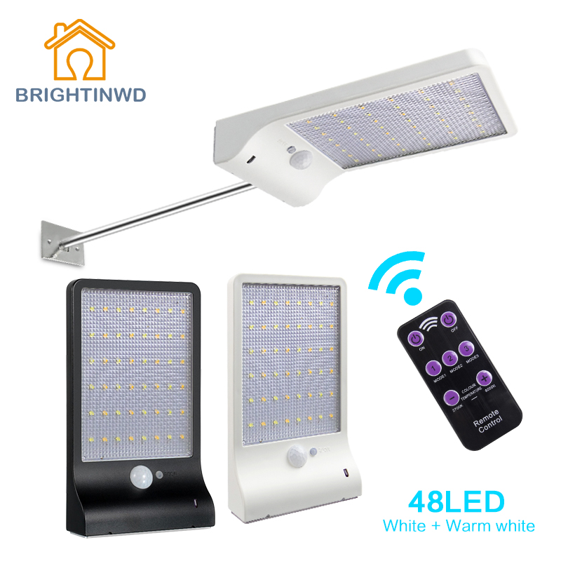 48 LED Remote Control Outdoor Lighting with PIR Motion Sensor Wall Light White & Warm White Waterproof Garden Street Solar Lamp