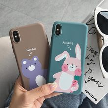 TPU Case Matte Animal Cover For iPhone 7 Plus XR X XS Xs Max 8 Cases 6S 6 Cute Rabbit Bear Phone