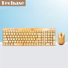 Techase De Madera Delgado Teclado E Sem Fio Ratón Teclado Inalámbrico y Ratón De Bambú Diseño Mini Teclado y Ratón Combo Para Laptop