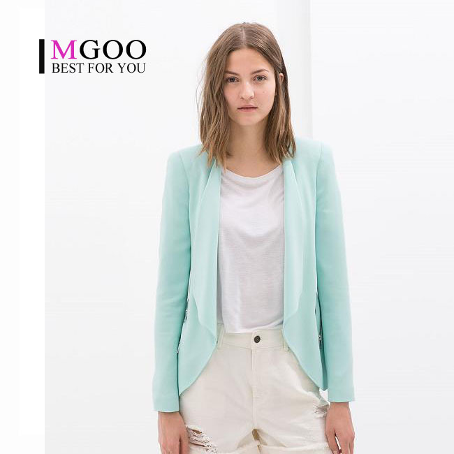 MGOO Irregular Candy Color Light Blue Women Blazer 2015 Spring Pocket Zip  Uo Women Fashion Street Blazer-in Blazers from Womenu0027s Clothing u0026  Accessories on ...