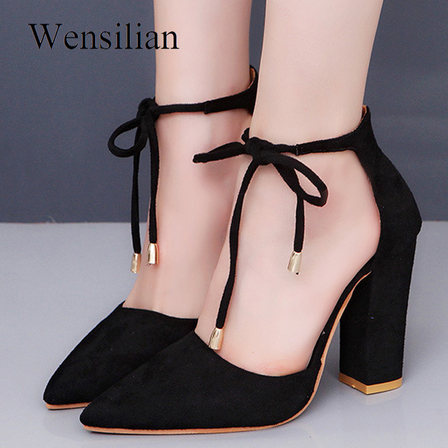 b2cd8d730bd US $12.21 53% OFF|Designer Women Pumps High Heels Sandals Lace Up ladies  Red Bottom Escarpins Femme 2018 Sandalias Heel Ankle Zapatos Mujer Tacon-in  ...